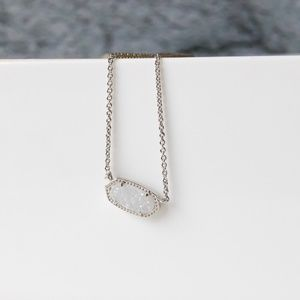 Kendra Scott Elisa Silver Pendant Necklace Drusy